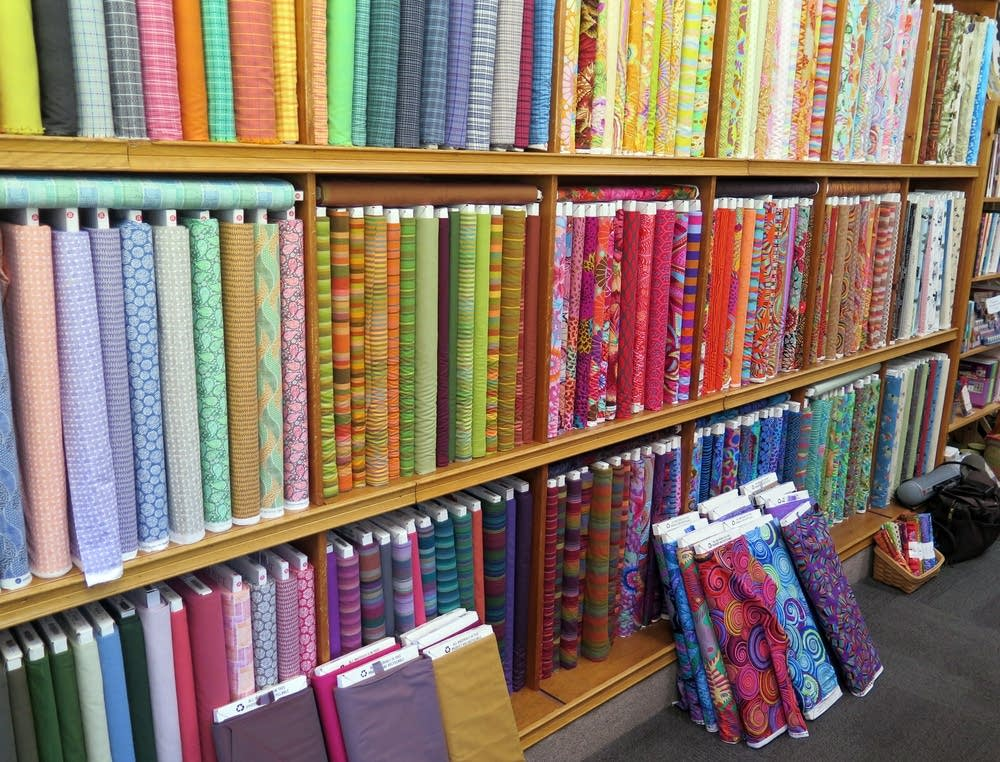 Hundreds of bolts of fabric for sale