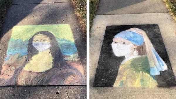 Chalk art on sidewalks in St. Cloud