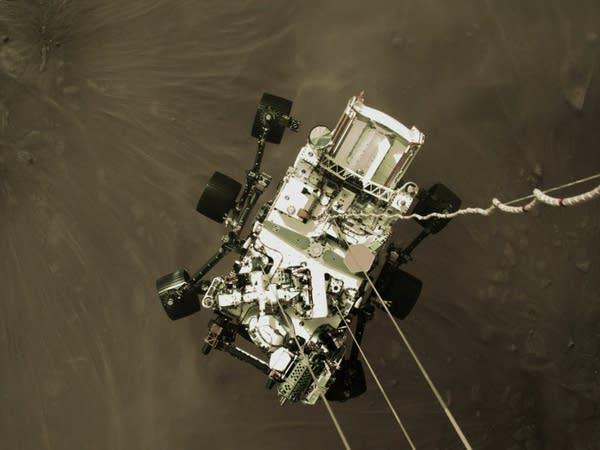 An image of NASA's Perseverance rover landing on Mars.