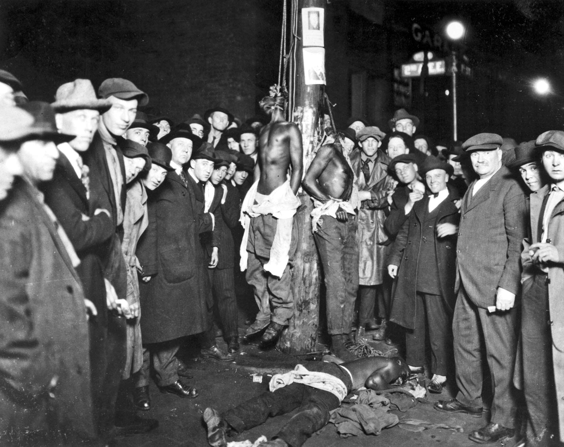 Duluth lynching from the postcard photographed in June, 1920.
