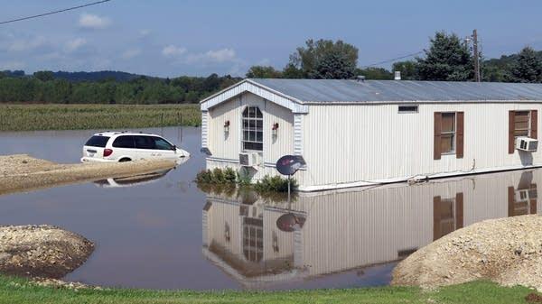 A flooded home near Decorah