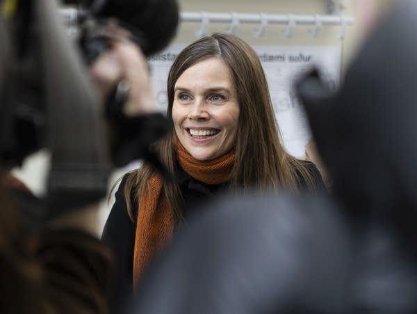 Iceland's Prime Minister Katrin Jakobsdottir speaks to the media