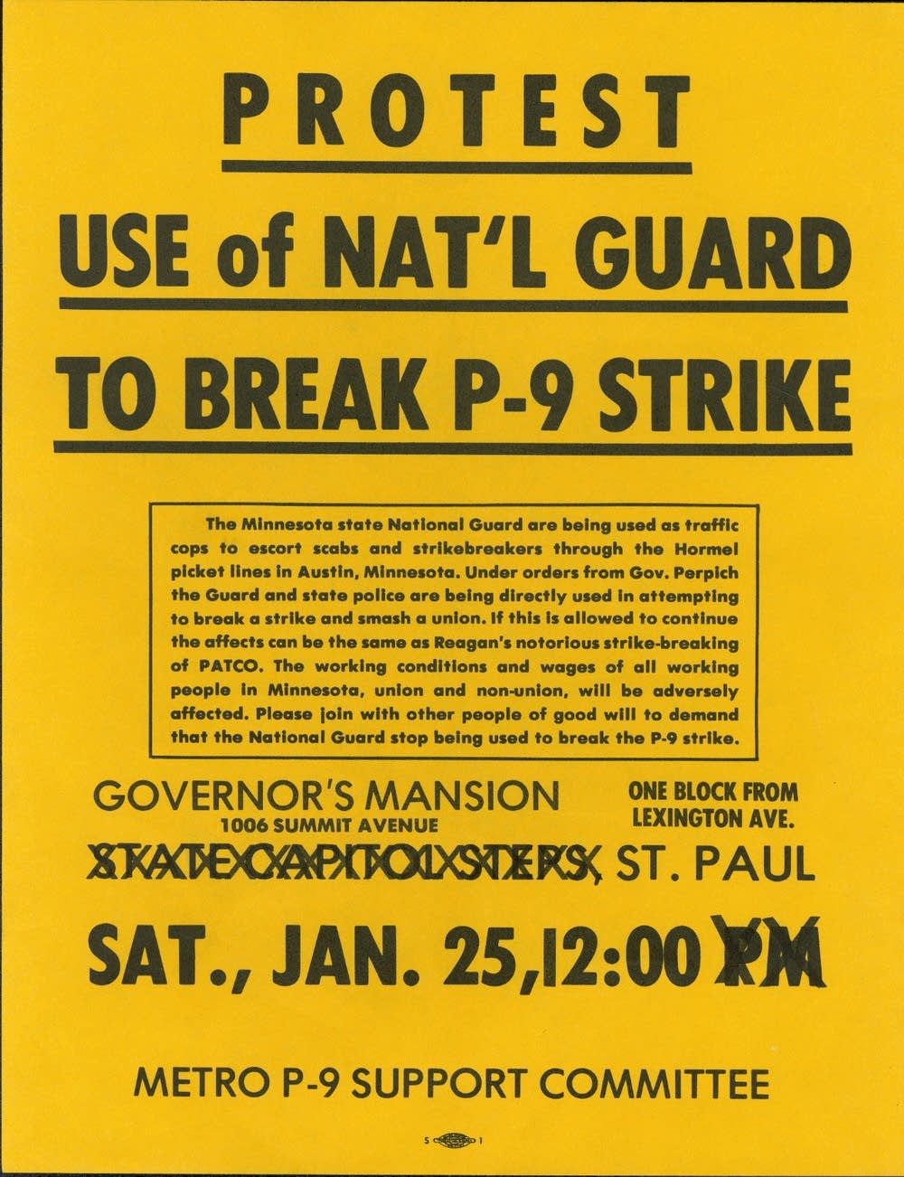 Protest use of National Guard to break P-9 strike