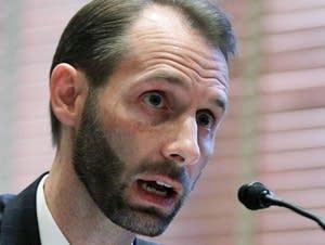 Matthew Petersen testifies during a hearing.