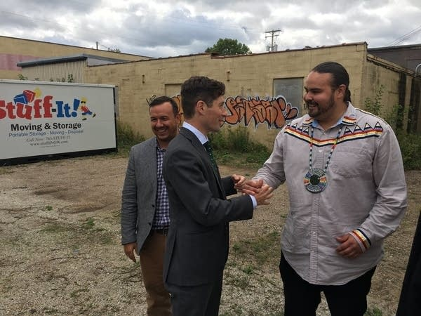Minneapolis Mayor Jacob Frey and Sam Strong of the Red Lake Nation