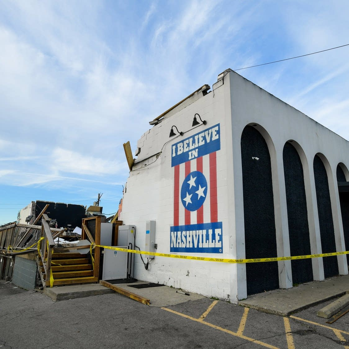 Destroyed exterior of The Basement East music venue in Nashville