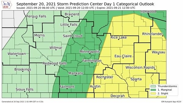 Severe weather risk areas Monday