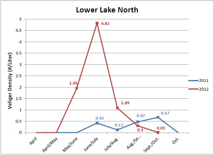 519 veliger density LL north