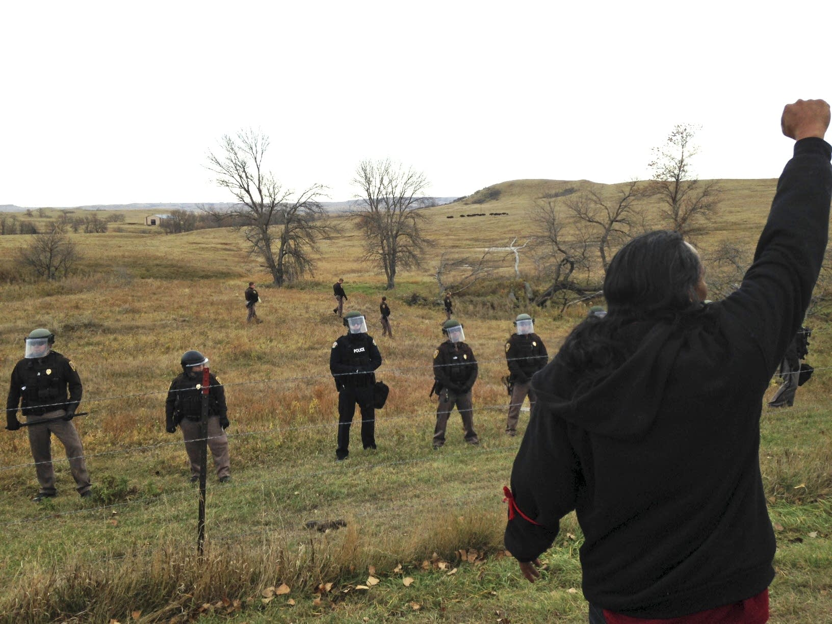 Pipeline protester defies law enforcement officers.