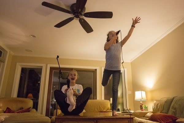 'Girl on Fire' is the karaoke song of choice for Zoe and Sophie Jones.
