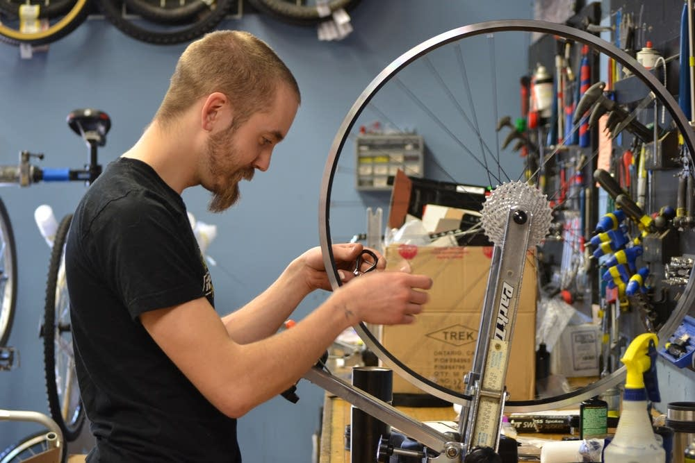 Sam Hulin, a mechanic at Freewheel Bike