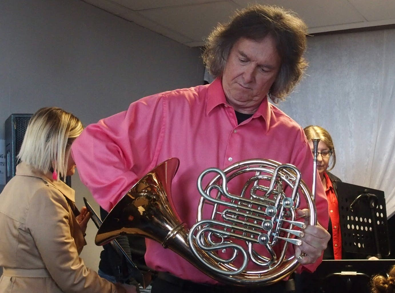 Michael Gast assembles his French Horn