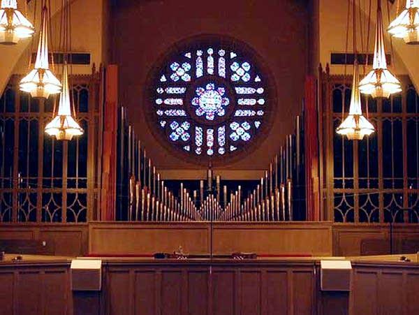 1958 Reuter; 2001 Morel organ at Montview Boulevard Presbyterian Church,...