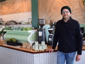 Chef Paul Berglund stands in Fiddlehead Coffee Company.