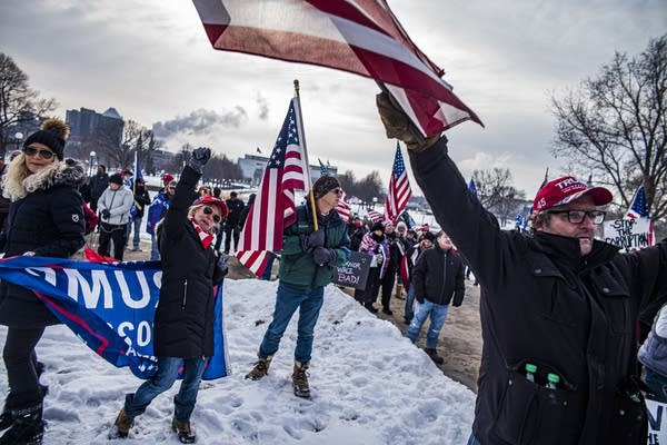 Trump supporters attend a rally at the Minnesota State Capitol.