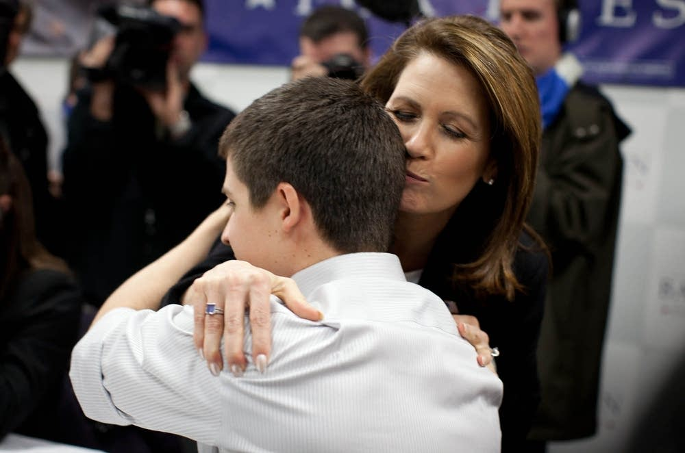 Bachmann hugs a supporter