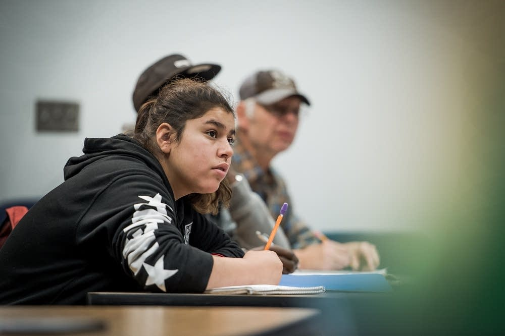 Jasmine Lazo, 18, in class in St. Paul.