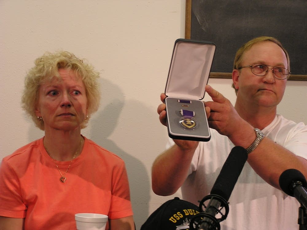 Posivio's parents with Purple Heart