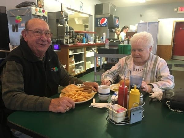 Ron and Val Osladil eat lunch at Crazy Mary's Café