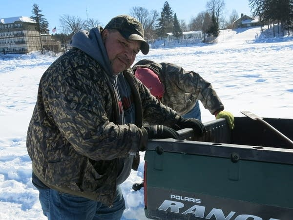 Jack Shriver has five ice houses, stranded on Leech Lake