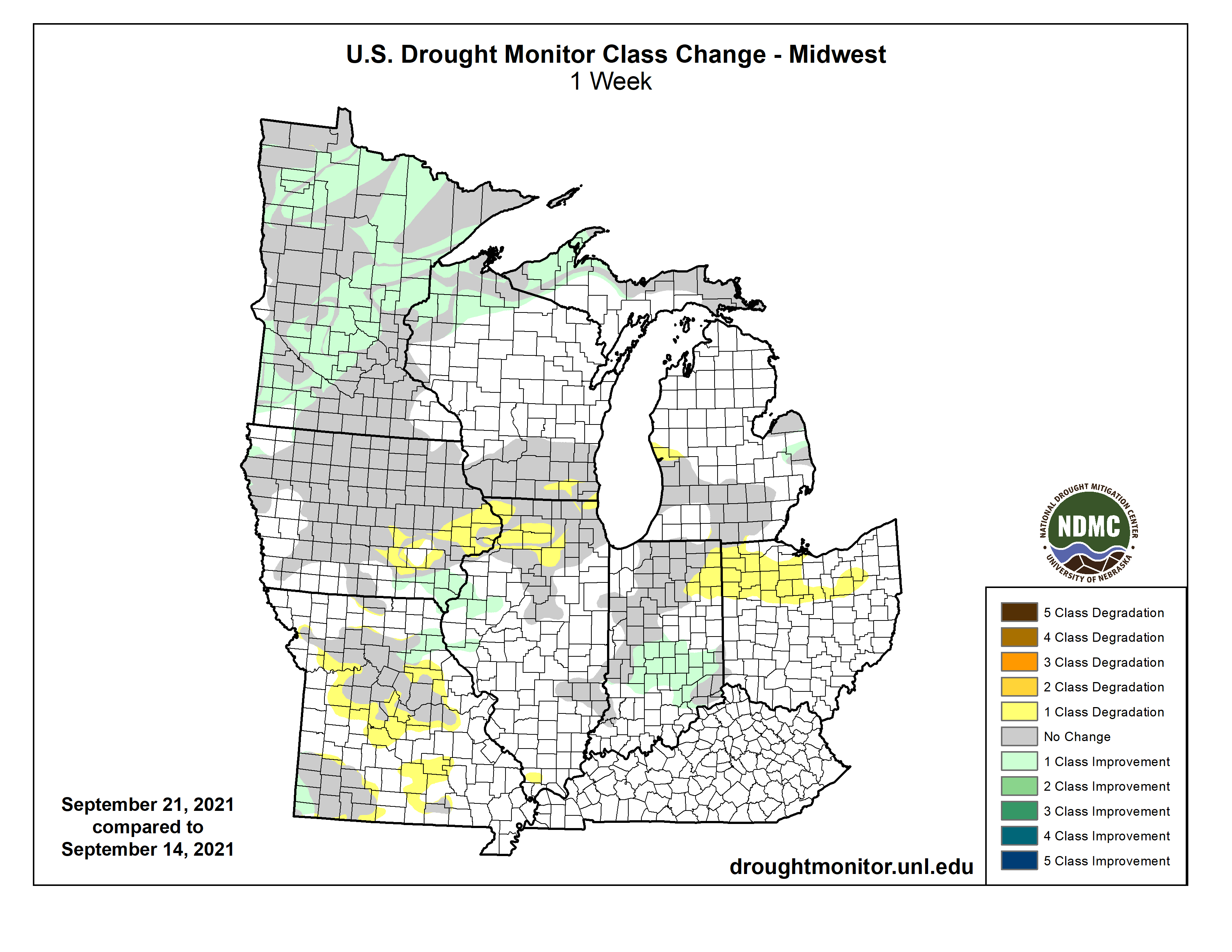 Drought class change for the Midwest