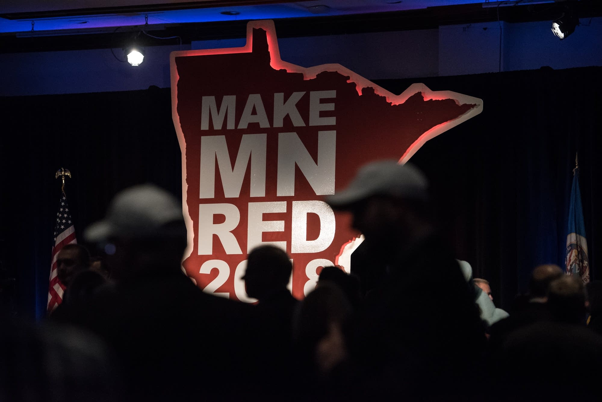 People gather at the GOP election night party in Bloomington.