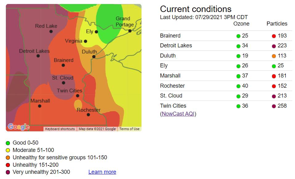 Air Quality Index Thursday