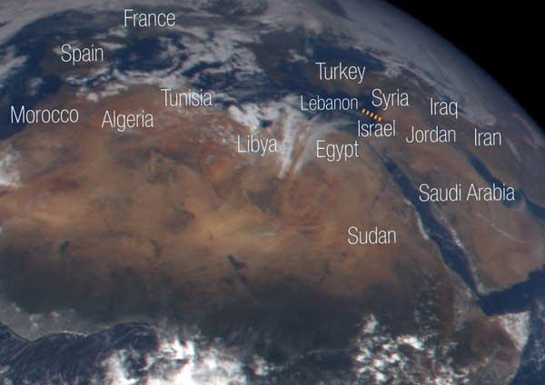 The clear skies border the Mediterranean