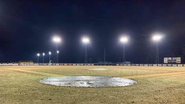 The lights at Nelson Field in Dawson, Minn.