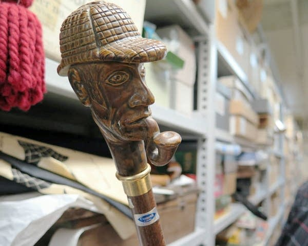 A hand-carved Sherlock Holmes cane