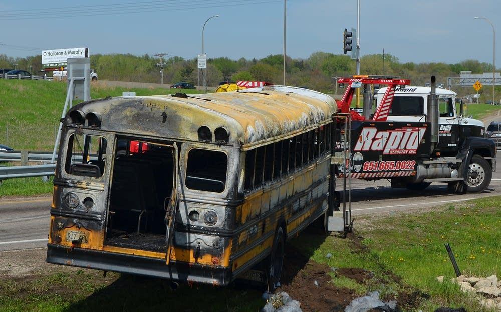 Burned school bus
