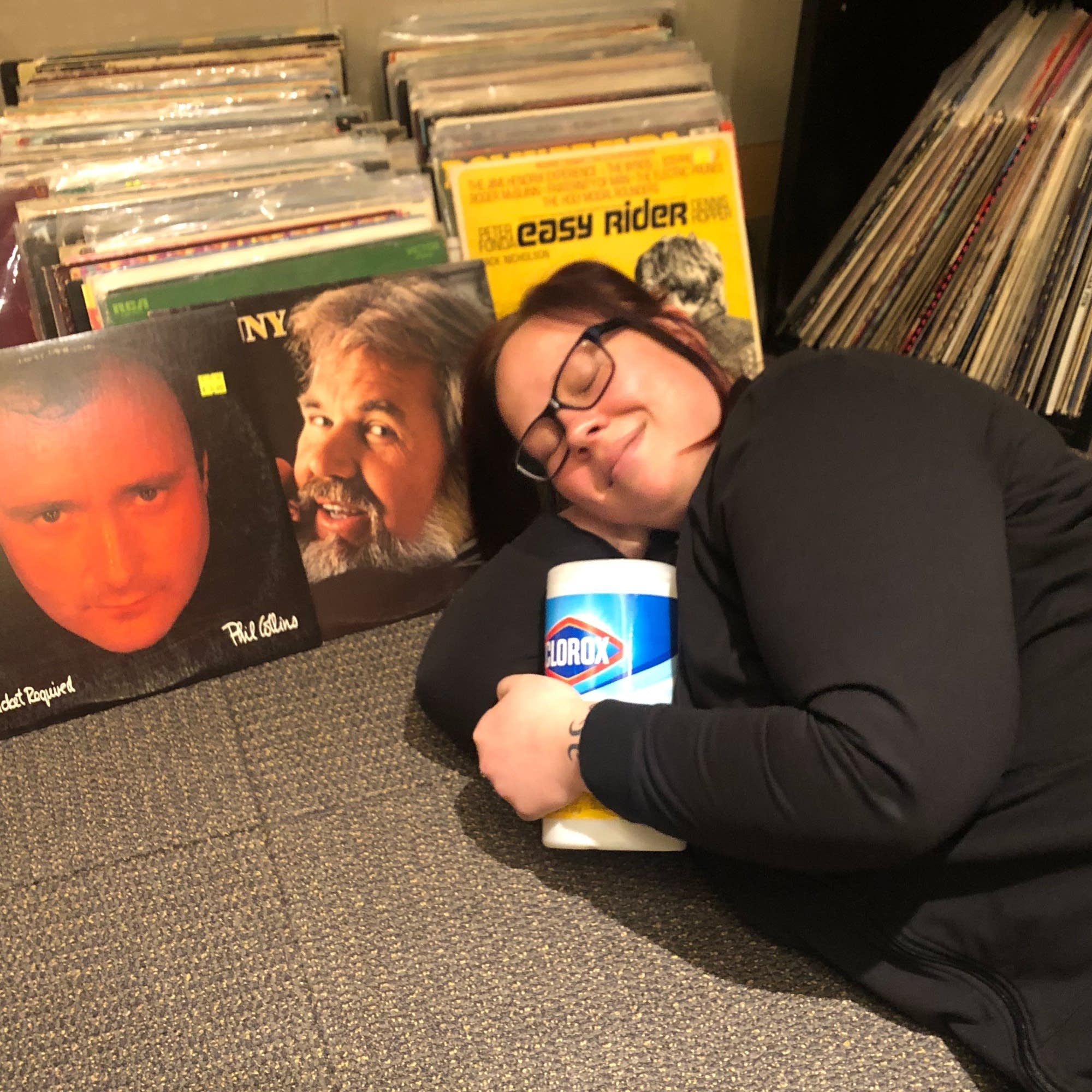 Jill Riley with disinfectant wipes and vinyl