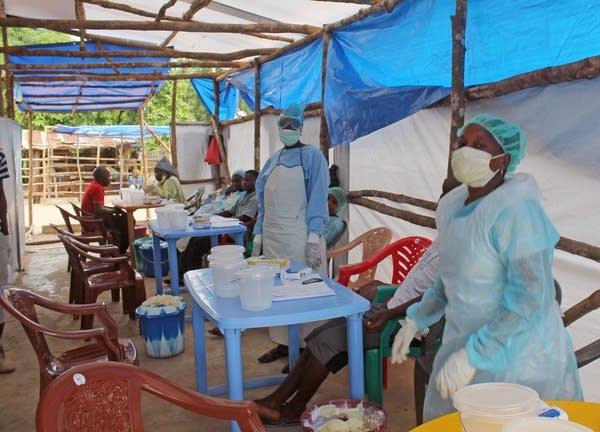 Medical personnel inside an Ebola clinic