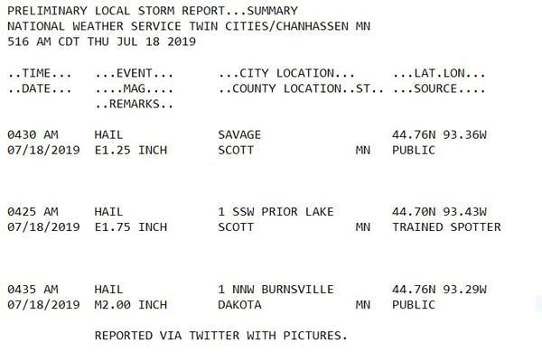 Large hail reports Thursday morning