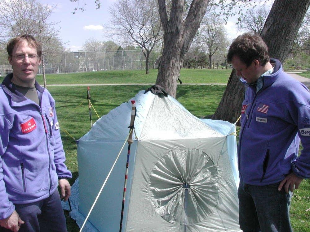 Ski poles doubles as tent poles