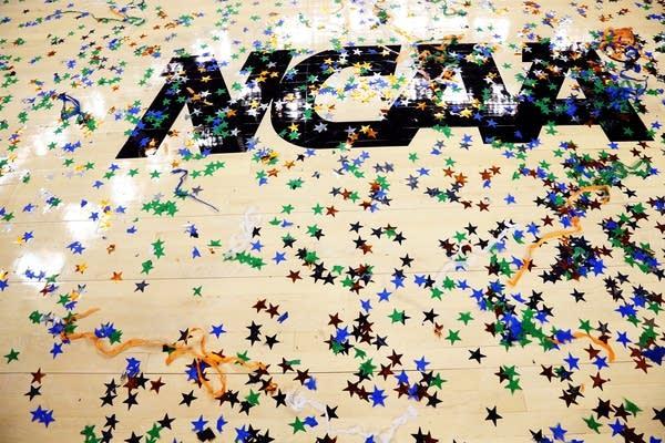 Confetti meets the NCAA logo