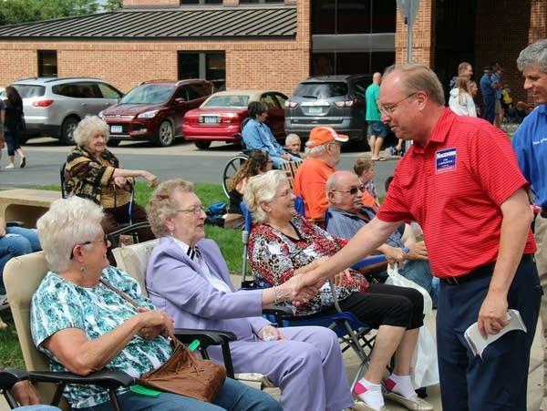 Republican Jim Hagedorn campaigns in St. Charles, Minn.