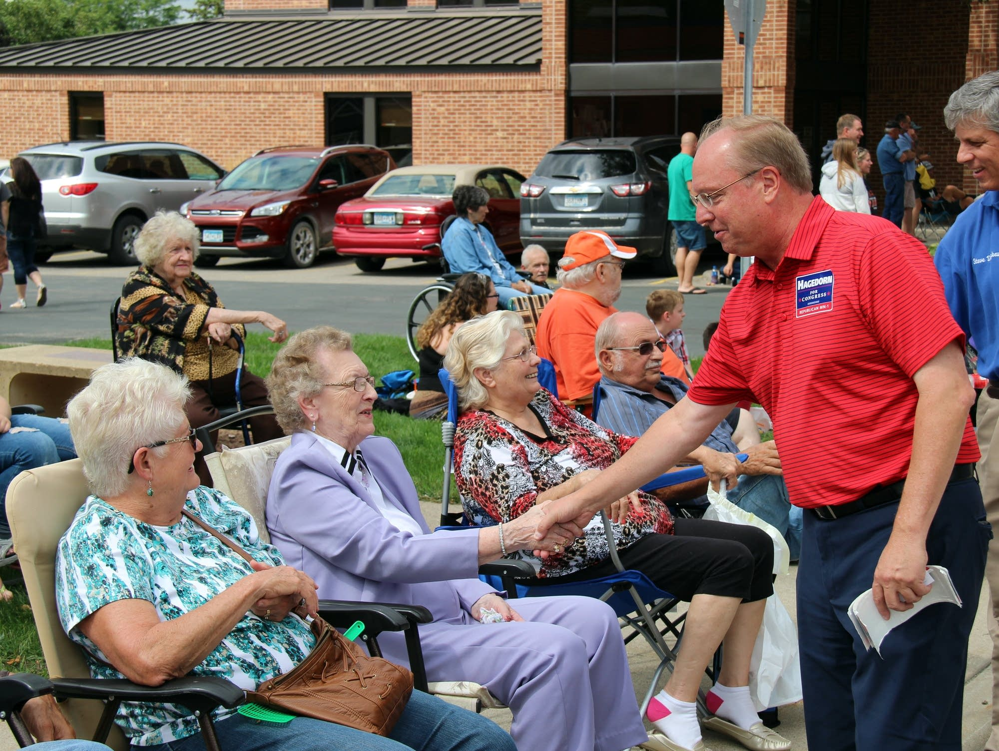 Republican Jim Hagedorn campaigns in St. Charles, Minn.