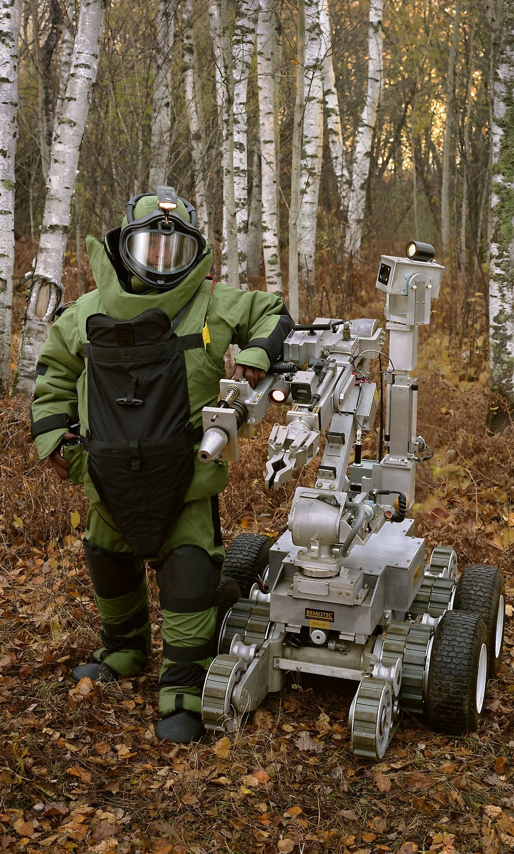 Bomb suit and robot