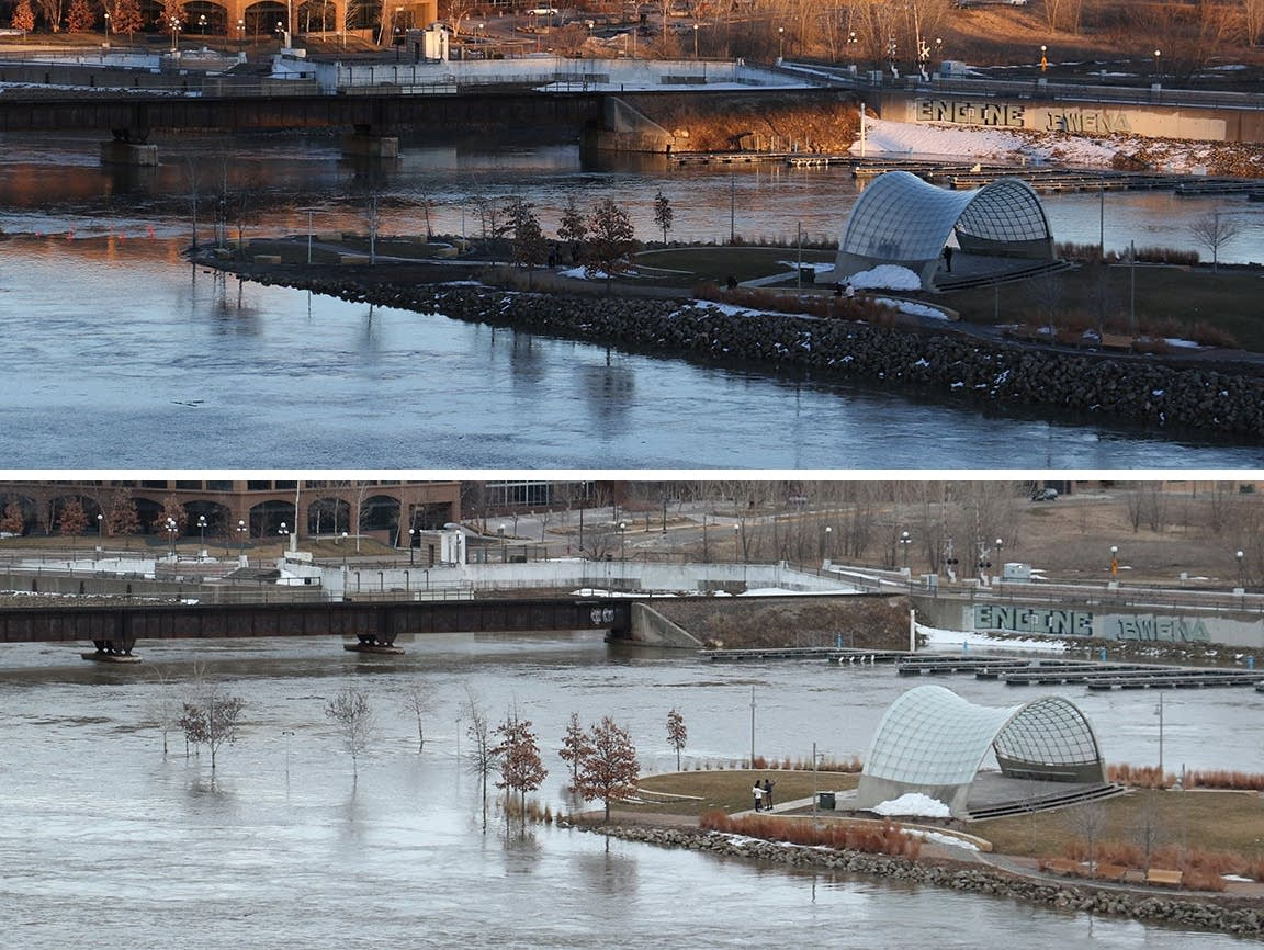 The rising water of the Mississippi River at Raspberry Island in St. Paul