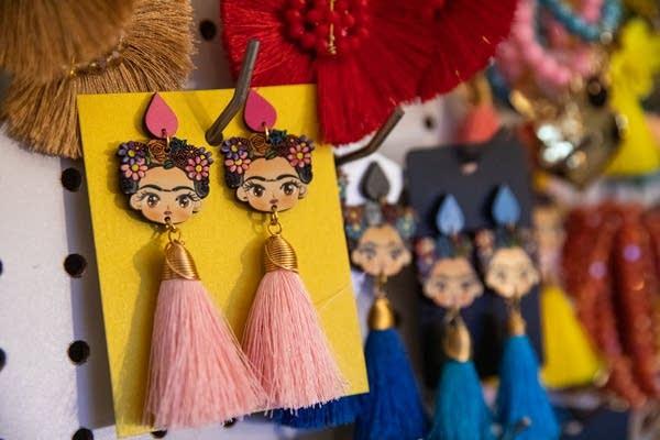 Frida Kahlo themed earrings.