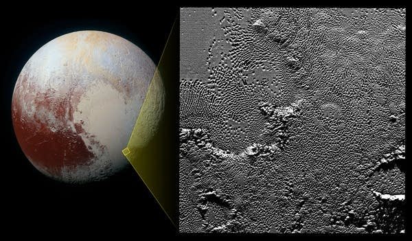 Composite image of pits on the surface of Pluto
