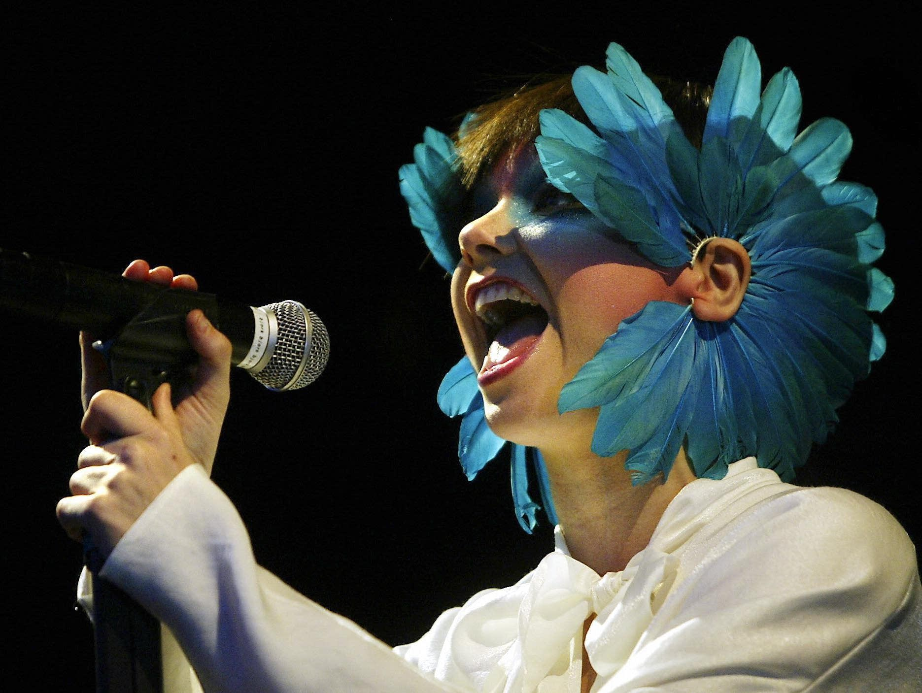 Bjork performs at the Roskilde Festival in 2003.