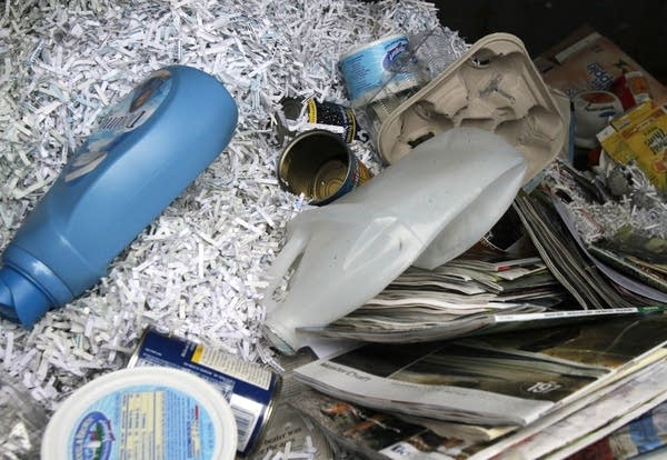 Contents of a recycling bin