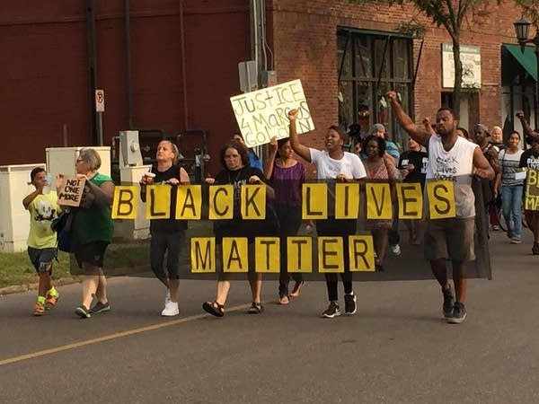 Black Lives Matter marchers on Grand Avenue