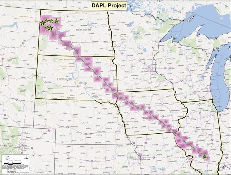 Proposed route for Dakota Access Pipeline