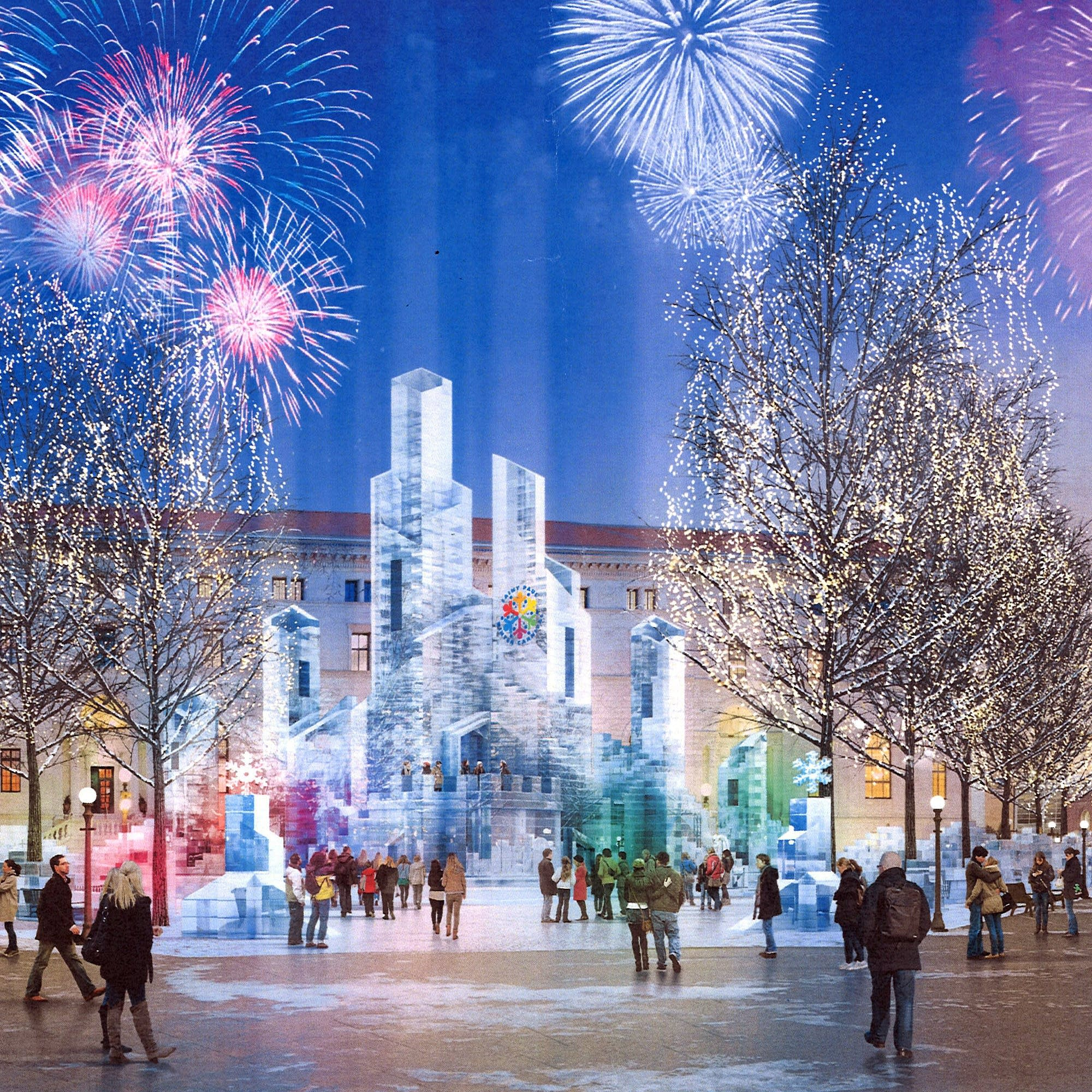 A rendering of the 2018 St. Paul Winter Carnival Ice Palace