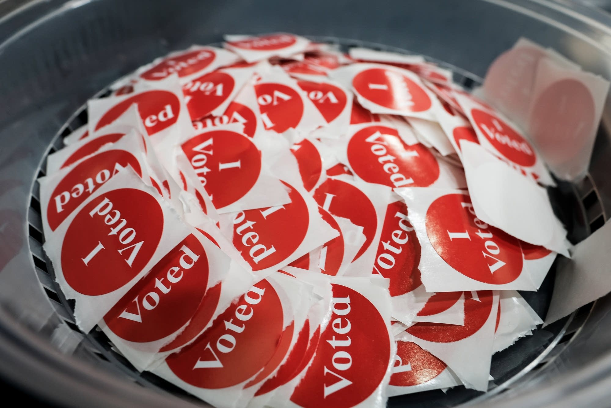 Voting stickers at Brian Coyle Community Center