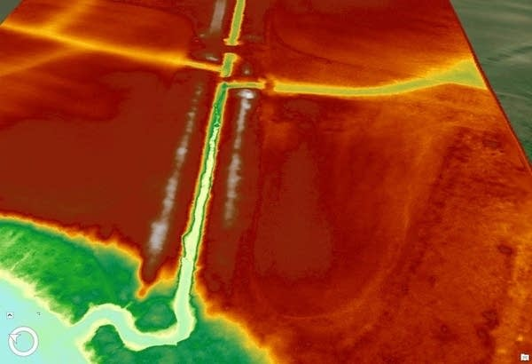 a lidar image shows ground contours