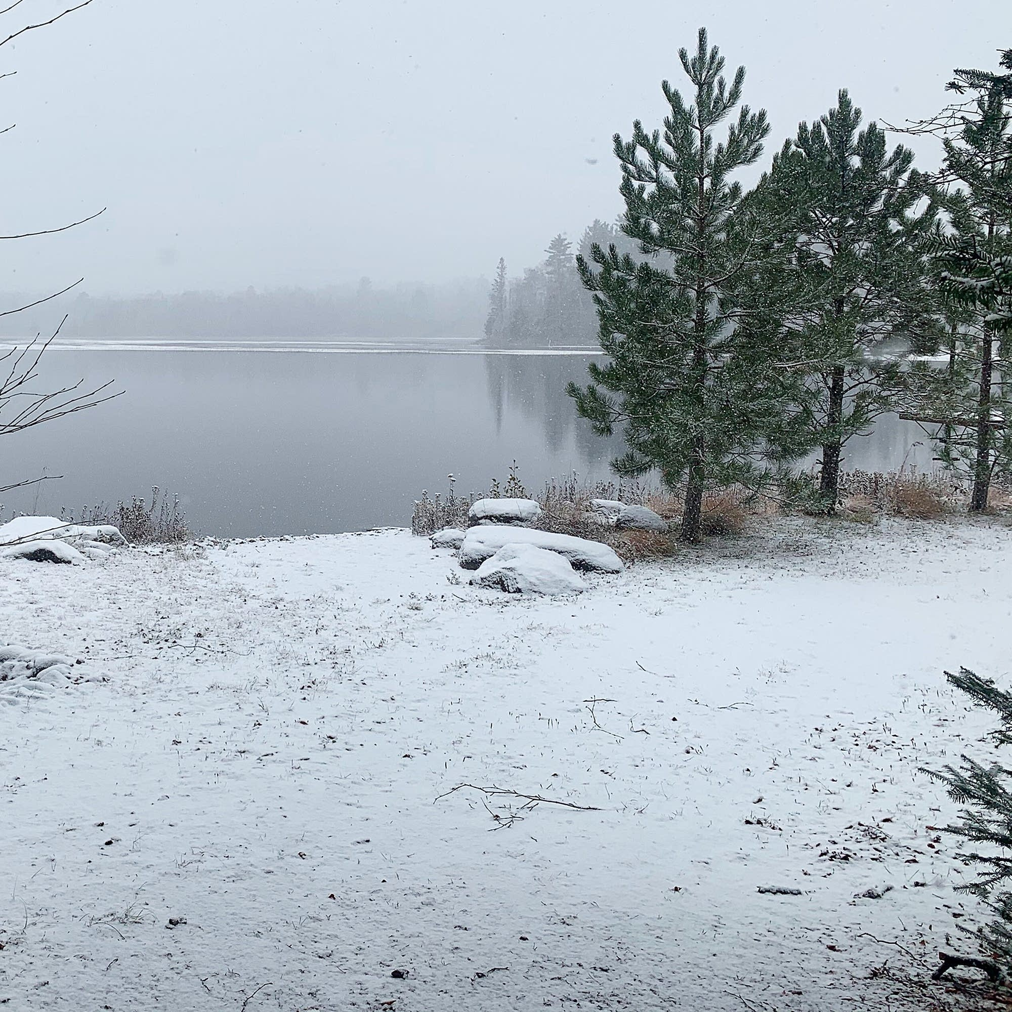Snow covers the ground and tree branches in front of a body of water.